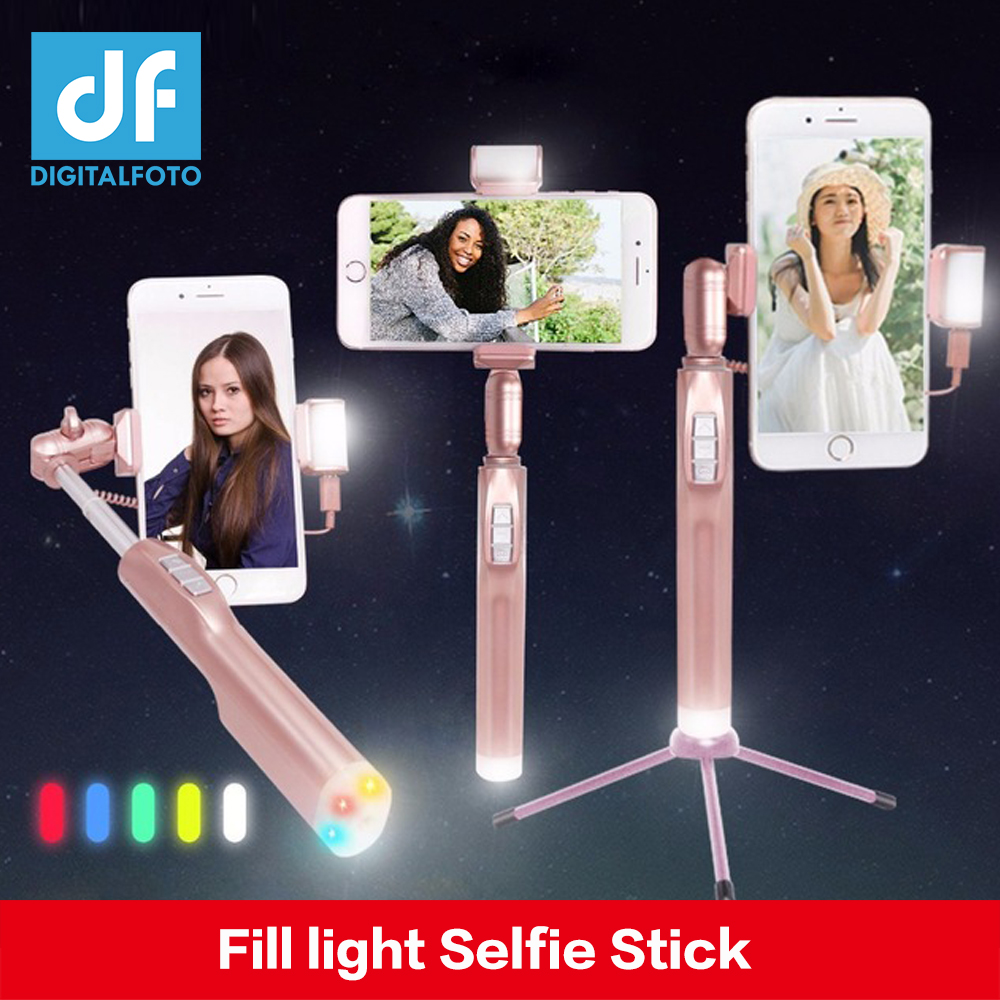 DIGITALFOTO Fill light Rose Gold A8 Wireless Bluetooth Selfie Stick Women Monopod Handheld Smartphone Selfie Stick Stabilizer selfie media настольная игра мутантики selfie media