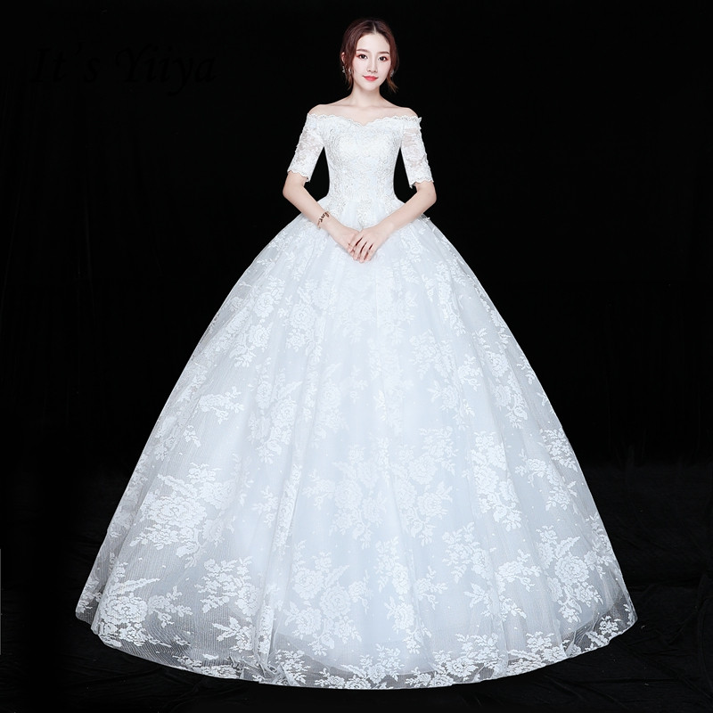 It's YiiYa Wedding Dress Short Sleeve Bridal's Gowns Full Lace Princess Bridal Ball Gown Boat Neck  Wedding Dress XXN223