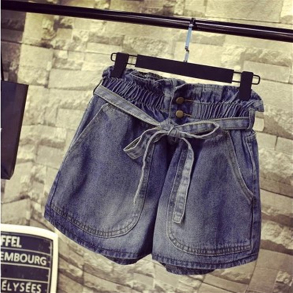 ФОТО 50 wholesale Summer New pattern Large size Home direct marketing Straight tube type Ladies Denim shorts Loose baggy breeches