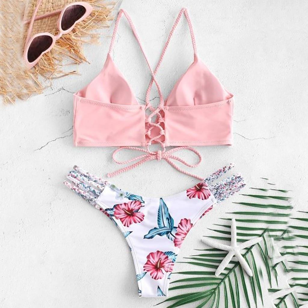 Sexy Bikinis Women 2019 Micro Bikini Set Push Up Cut Flower Two Piece Swimsuit Female Bandage Swimwear Bathing Suit Biquini