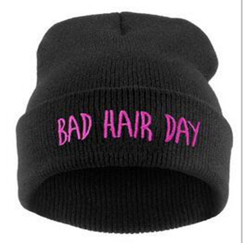 Hot Sale Personality Fashion Bad Hair Day hip-hop Hat , European Knitted wool spring Autumn winter Beanie hats For women and men rwby letter hot sale wool beanie female winter hat men