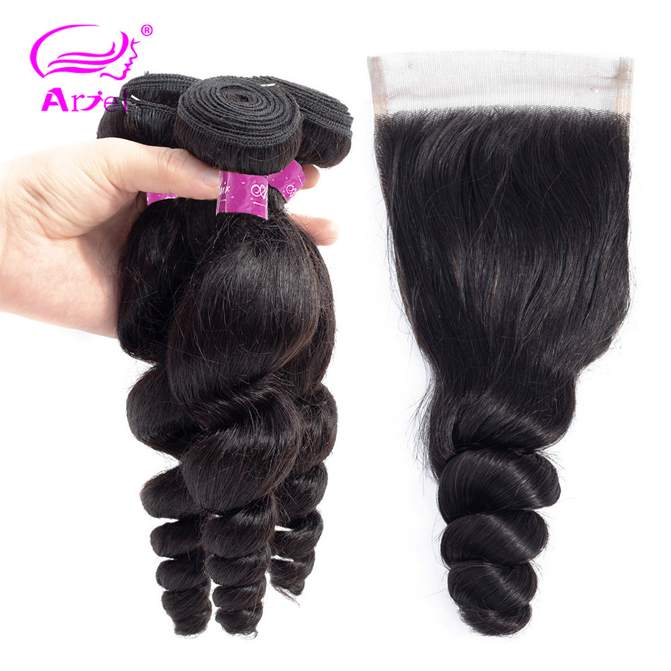 ARIEl Brazilian Loose Wave Hair Bundles With Closure Non Remy 100 Human Hair 4 3 Bundles