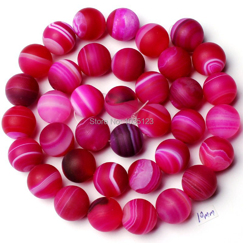 Free Shipping 10mm Natural Frosted Banded Fuchsia Color Stone Onyx Round Shape DIY Loose Beads Strand 15 Jewellery Making w1776