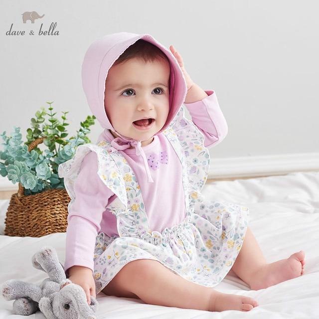 DBH10042 dave bella 6M 3Y yeni doğan rompers bebek uzun kollu çiçek tulum bebek yürümeye başlayan butik onesies kız romper