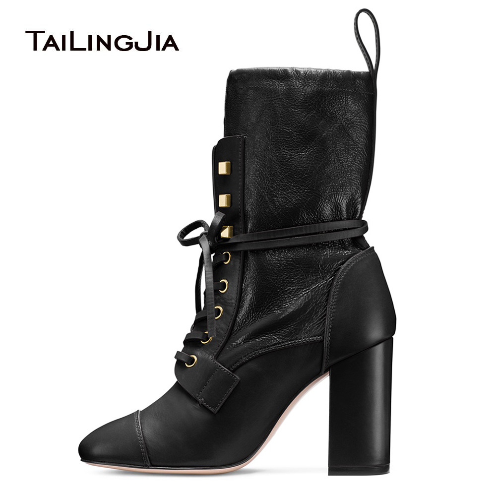 Women Black Round Toe Chunky Heel Sock Boots 2018 Lace Up Mid Calf Boots Ankle Booties Ladies Autumn Winter Shoes Large Size meotina women boots winter chunky heel western boots ladies ankle boots large size 34 43 female autumn shoes 2018 white brown