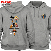 Awesome Anime Design Streetwear Fleece Hoodies Monkey D Luffy VS Saiyan Goku Hoodies Active Cool Punk Women Men Gray Sweatshirts