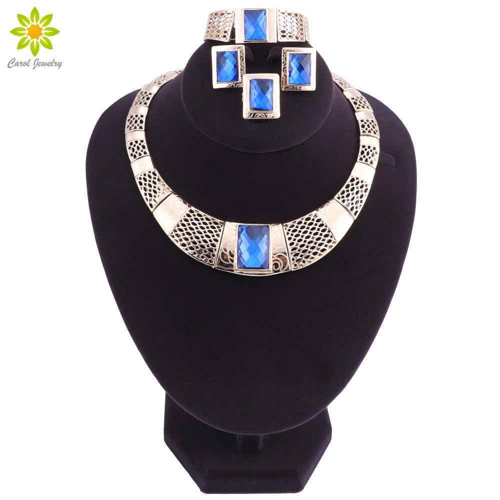 Top Exquisite Dubai Schmuck-Set Luxus gold-farbe Big Nigerianischen Hochzeits Afrikanische Perlen Halskette Schmuck-Set Kostüm Design