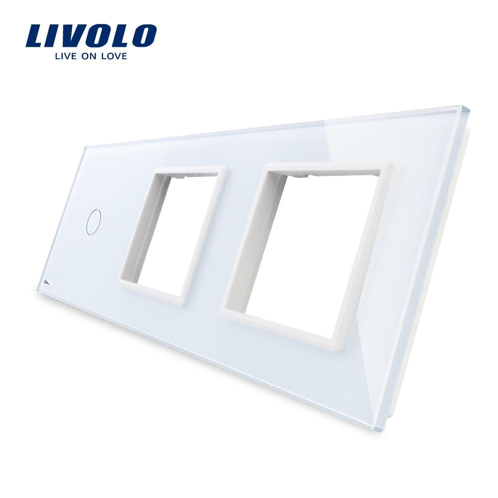 Free Shipping, Livolo White Pearl Crystal Glass, 223mm*80mm, EU standard, 1Gang &2 Frame Glass Panel, VL-C7-C1/SR/SR-11 free shipping livolo luxury black crystal glass 223mm 80mm eu standard 1gang