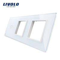 Free Shipping Livolo White Pearl Crystal Glass 223mm 80mm EU Standard 1Gang 2 Frame Glass Panel