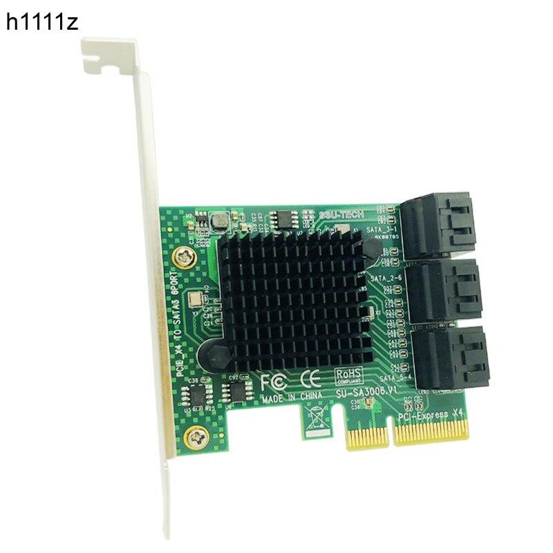 H1111Z Add On Cartões Adaptador PCIE SATA 3.0 PCI-E Cartão SATA PCI e PCI Express SATA Controlador 6-Portas placa de Expansão PCIE X4 SATA3