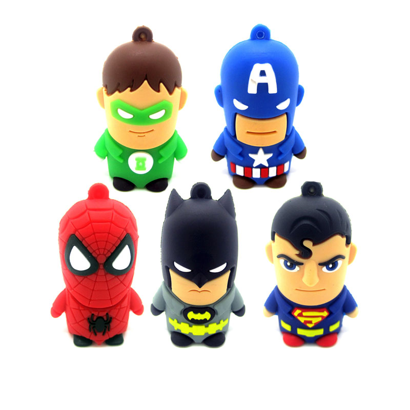 Cartoon Hero Pen Drive 4GB 8GB 16GB 32GB memory stick FREE Shipping Pendrive PVC Bat Man Super Man Avengers USB Flash Drive
