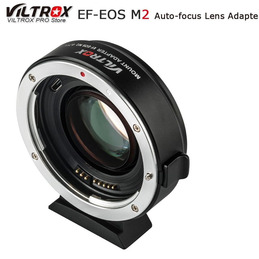 Viltrox EF-EOS M2 AF Auto-focus EXIF 0.71X réduire la vitesse Booster adaptateur d'objectif Turbo pour Canon EF objectif vers EOS M5 M6 M50 appareil photo