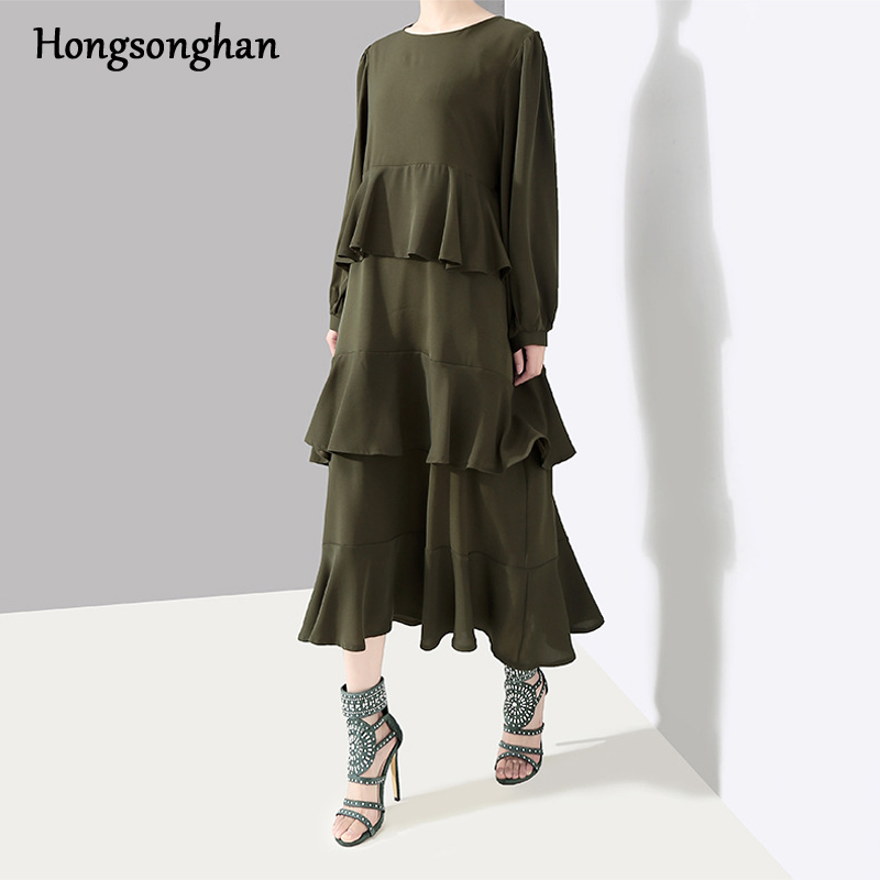 Hongsonghan 2019 Women spring Korean style solid color loose light cascading ruffle loose dress side lace up Halter Midi Dresses in Dresses from Women 39 s Clothing