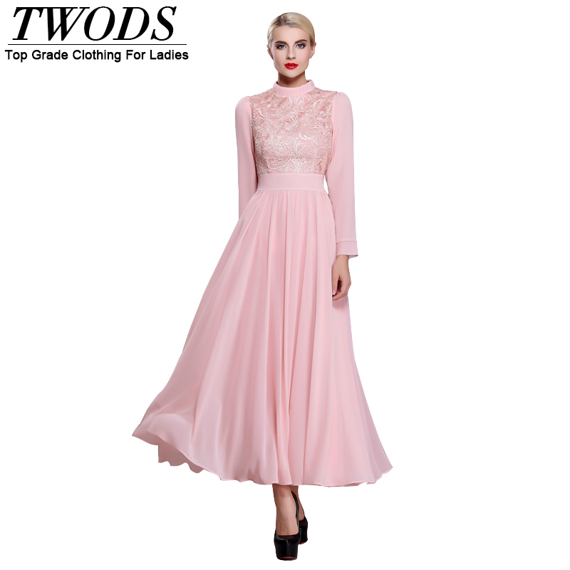 c3facb68402b1 Twods 2015 new pink chiffon maxi dress women long sleeve lace patchwork  spring full length pretty party slim party dresses