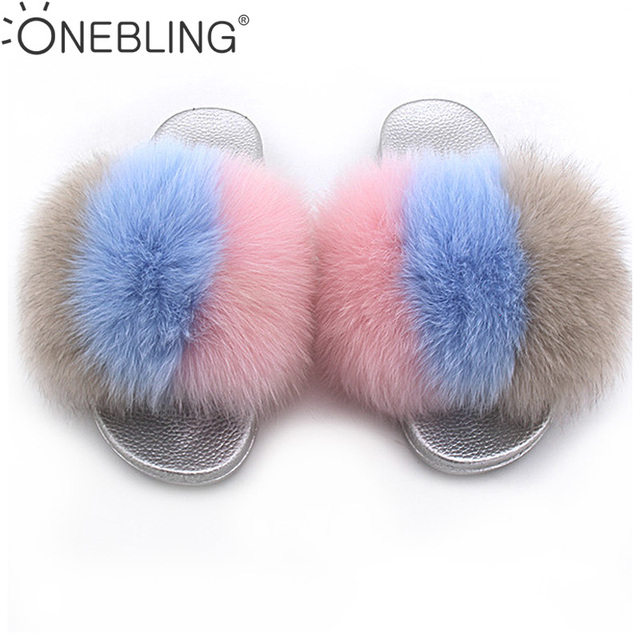 358e83188b459 One Bling Plus Size 36-43 Summer Fashion Three Tone Fuzzy Faux Fur Women  Flat Slippers Sandals Soft Sliver Sole Ladies Sliders. 1 order