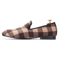 Design Mixed Color Plaid Pattern Velvet Shoes Fashion Party And Wedding Men Dress Shoes Handmade Loafers