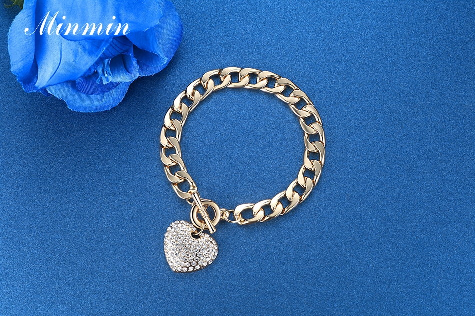 Minmin Lovely Silver/Gold-Color Strand Bracelets for Women Heart Crystal Pendant Chain Bracelets & Bangles Fashion Jewelry SL063 5