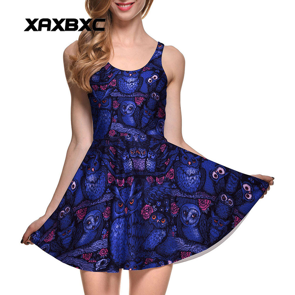 f66537a202a67 XAXBXC NEW 1051 Summer Sexy Girl Dress Beauty and the Beast Rose Prints  Reversible Vest Skater Women Pleated Dress Plus size