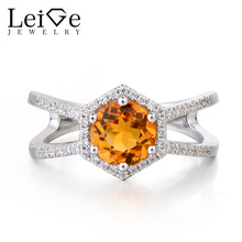 Leige Jewelry Genuine Solid 925 Sterling Silver Natural Citrine Wedding Ring Round Cut Yellow Gemstone November Birthstone Gifts