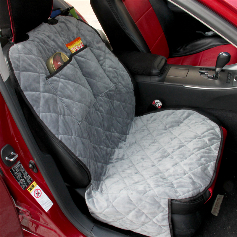 encell car seat covers single front seat quilted velvet camel gray car interior travel storage. Black Bedroom Furniture Sets. Home Design Ideas