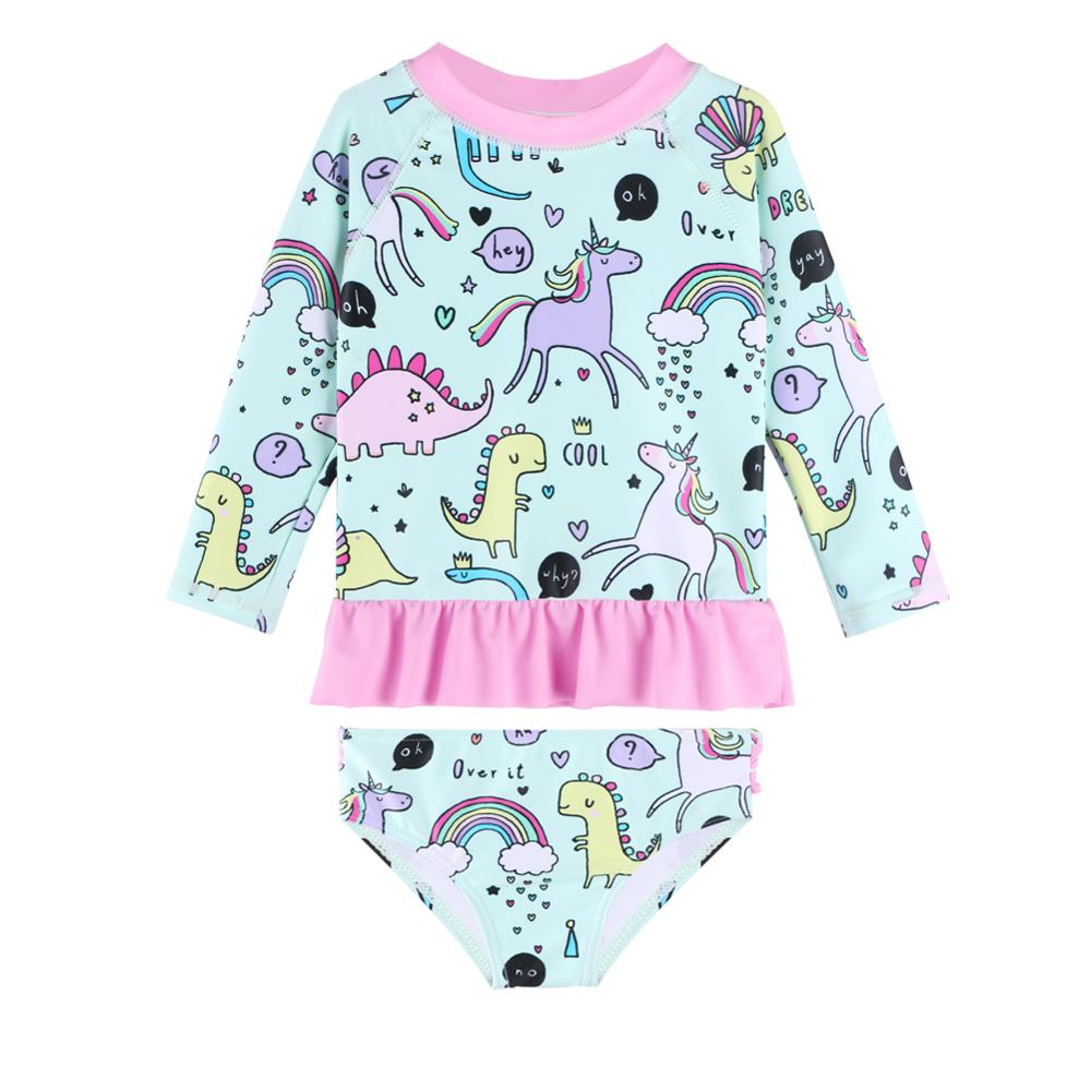 BAOHULU Cute Cartoon Baby Girl Swimwear UPF50+ Cyan Dinosaur Ruffle Toddler Kids Swimsuit Girls Swimwear Infant Bathing Suits