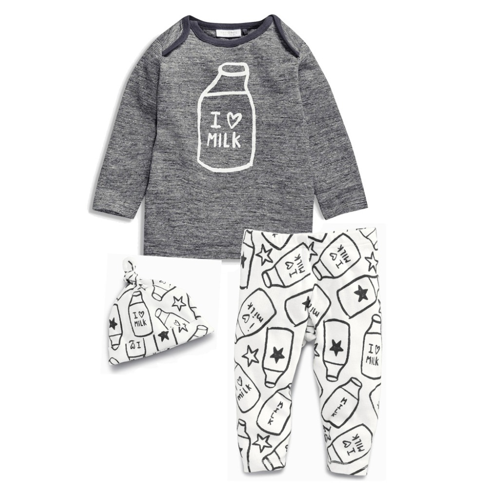 autumn spring infant clothes t-shirt+pant+hat 3pcs sets baby boys girls cotton sports suit child cute sets for toddler newborn