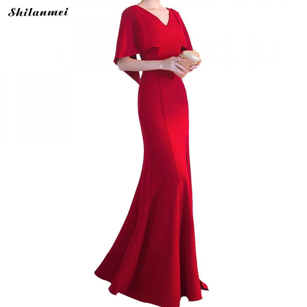Винтажное женское длинное вечернее платье-макси в стиле русалки, глубокие боковые разрезы, длина до пола, v-образный вырез, элегантные женск...