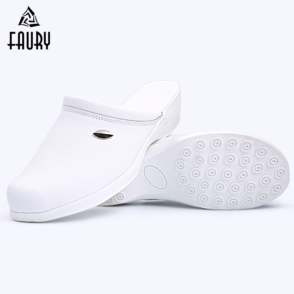 2018 High Quality Nurse Shoes Medical Shoes Women Genuine Leather Antiskid Flat Fashion Working Soft Sole Casual Slippers
