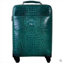 чемоданы бизнес heimanba Аллигатор чемодан универсального колесного мужчин и женщин молния путешествия 18 дюймов пароль кожаный чемодан