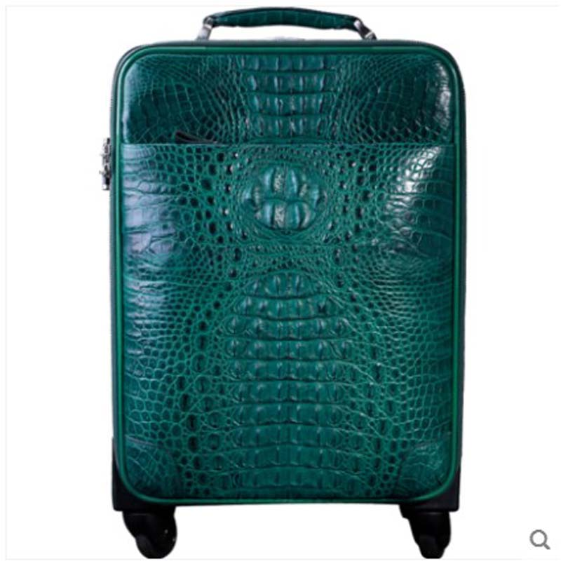 heimanba Alligator suitcase universal wheel men's and women's suitcases business zipper travel 18 inch password leather suitcase