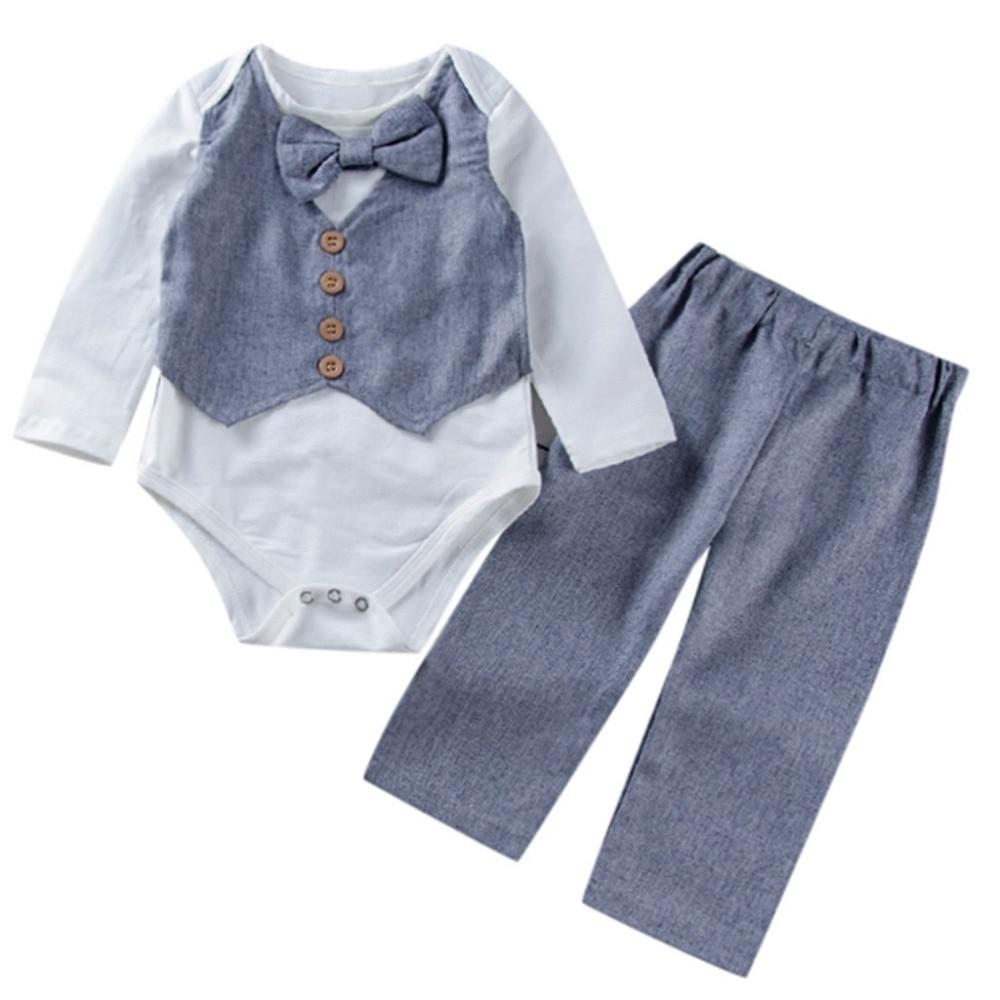 Vrouwelijke En Mannelijke Baby Lange Mouwen Boog Knop Knop Gentleman Ha Kleding Romper + Broek Tweedelig Pak Wit Tuta Bambina # # # #