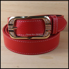 Top-quality LADY s thicken genuine cow leather belt with single pin buckle original factory supply
