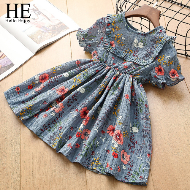 644e37f1a HE Hello Enjoy Toddler Girls Dress Summer Children Short Sleeves Chiffon Floral  Princess Dress Birthday Party Kids 2 3 4 5 6Year