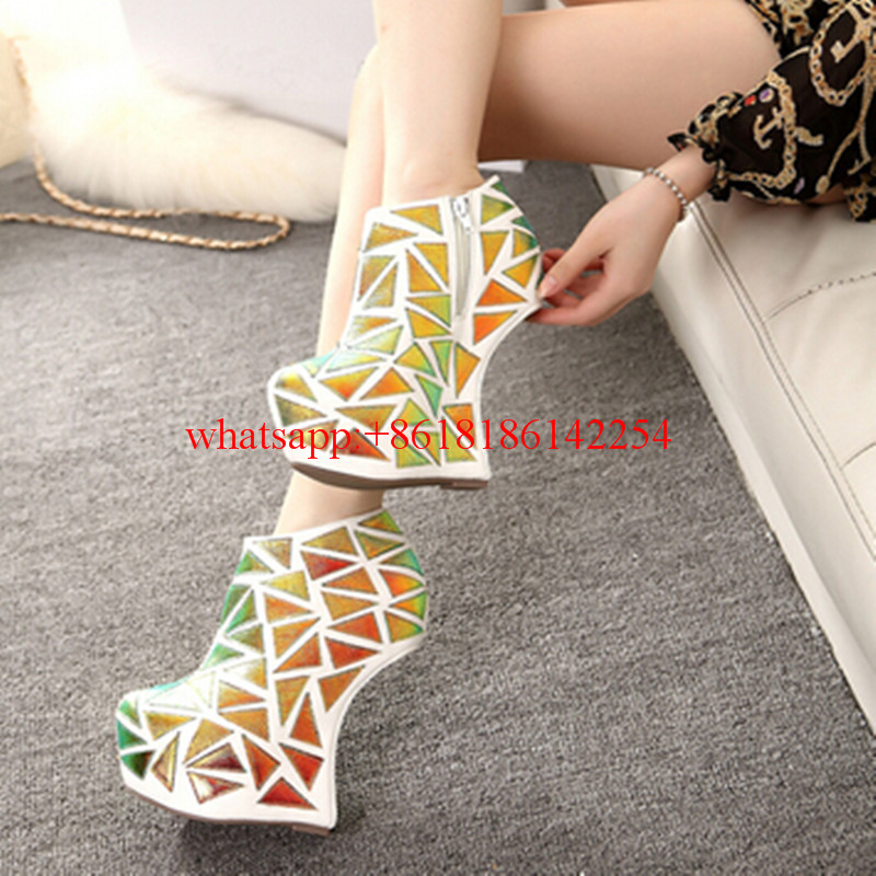 2016 Special Style New Fashion Boots Pumps Round-toe High-heeled Boots Waterproof Ankle Pumps Women Platforms Boots Hoof Heels
