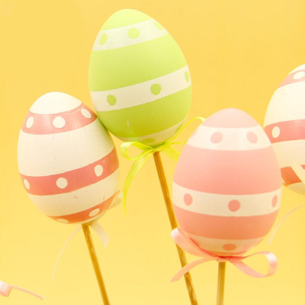9Pcs Colorful Plastic Simulation Easter Egg On Stick Gift DIY Craft Decoration