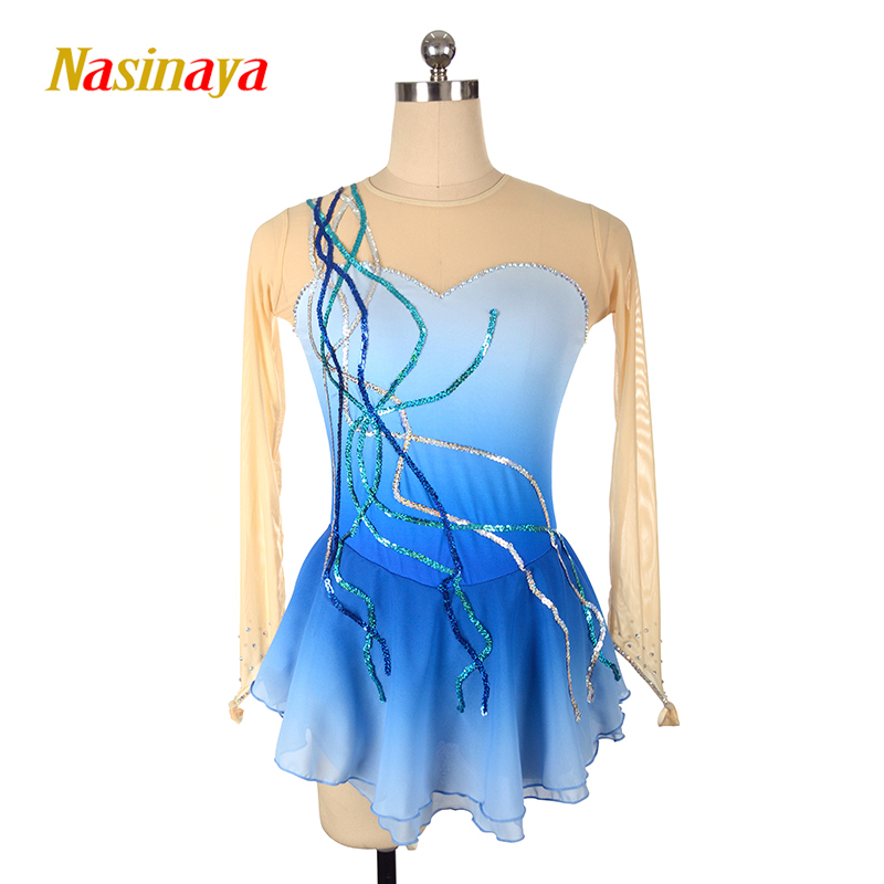 Nasinaya Figure Skating Dress Customized Competition Ice Skating Skirt for Girl Women Kids Patinaje Gymnastics Performance 002-in Gymnastics from Sports & Entertainment    1