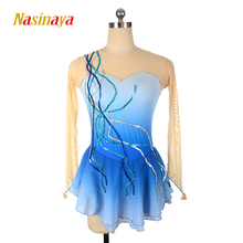 customized clothes figure skating dress rhythmic gymnastics no sleeve blue sequins adult child girl show skirt performance