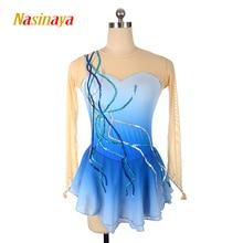 vestido personalizado patinaje artístico gimnasia rítmica no manga azul lentejuelas adulto niño niña espectáculo falda rendimiento