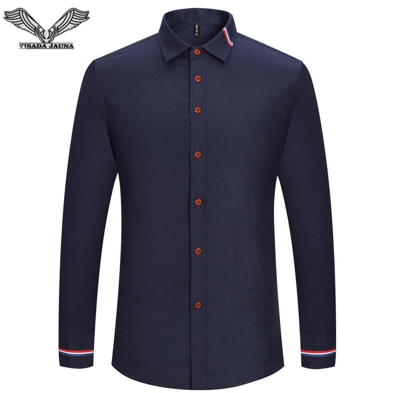 VISADA JAUNA 2017 Nieuwe Mannen Shirt Effen Kleur Lange Mouw Casual Merk Kleding Camisa Sociale Masculina Zakelijke Jurk 5XL N352