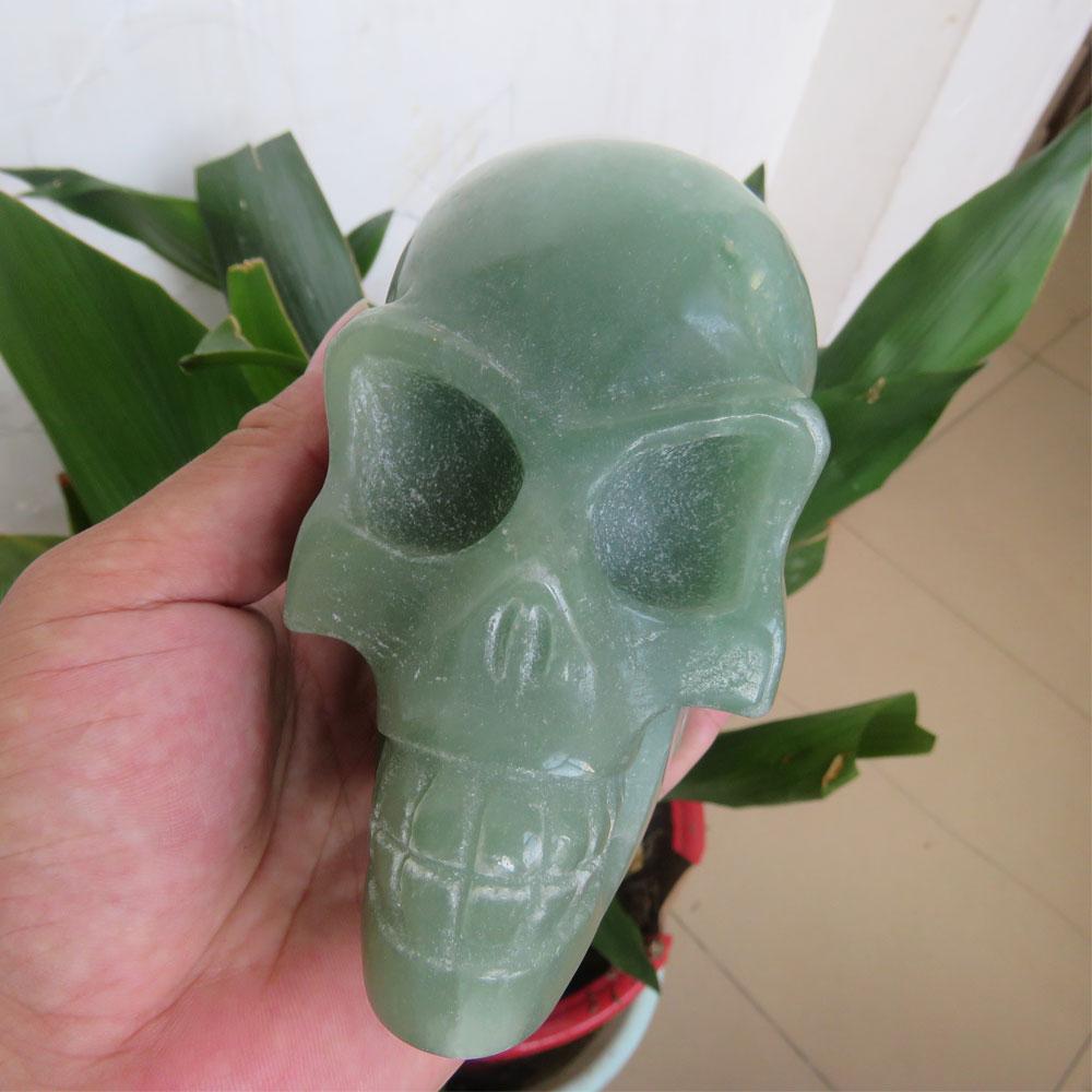 1129g Rare Unique AAA + + Naturale Verde Aventurine Cristallo Di Quarzo Del Cranio Allien Del Cranio Lungo Forma Del Corpo di Guarigione Reiki Meditazione 2019