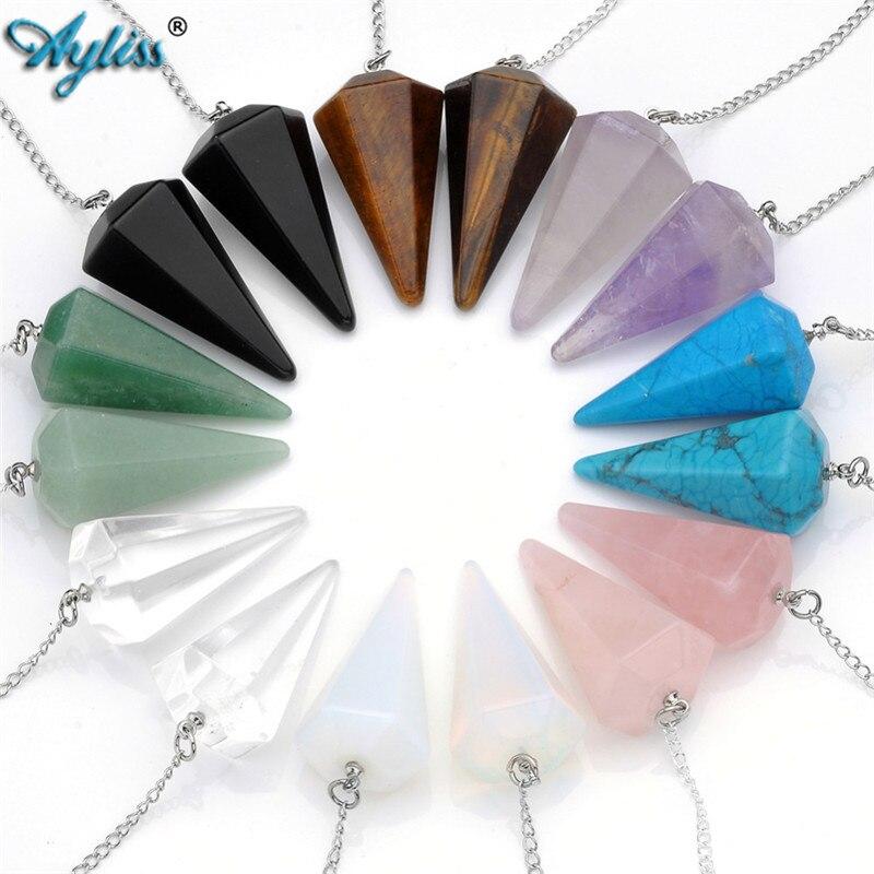 Ayliss pendentif en pierre naturelle chaude cristal à facettes Wicca pendule pendules pyramide guérison Reiki Chakra radiesthésie collier bijoux