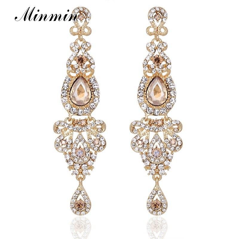 Aliexpress Buy Minmin Crystal Silver Gold Blue Color Dangle – Wedding Earrings Chandelier