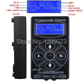 Black  Hurricane Power Digital LCD Tattoo Power Supply Liner/Shader Dual Setting for tattoo machine tattoo gun free shipping
