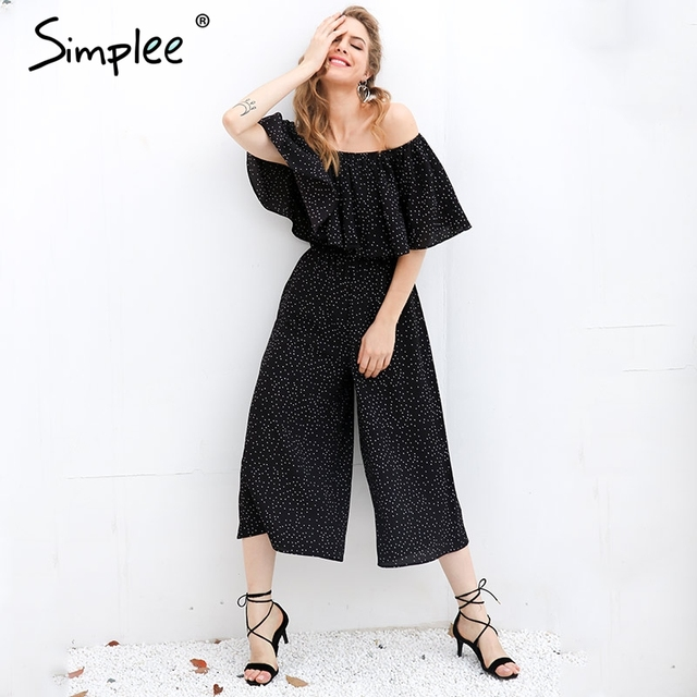 Simplee Elegant ruffle dot long jumpsuit romper Women off shoulder loose chiffon casual playsuit Summer 2017 high waist overalls
