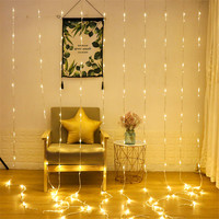 Thrisdar 3X3M 320LED Waterfall Curtain LED String Fairy Light Outdoor Wedding Party Christmas Icicle Water flow String Light