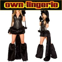 Black Faux Leather Costume Cosplay Black Bear In Halloween Party