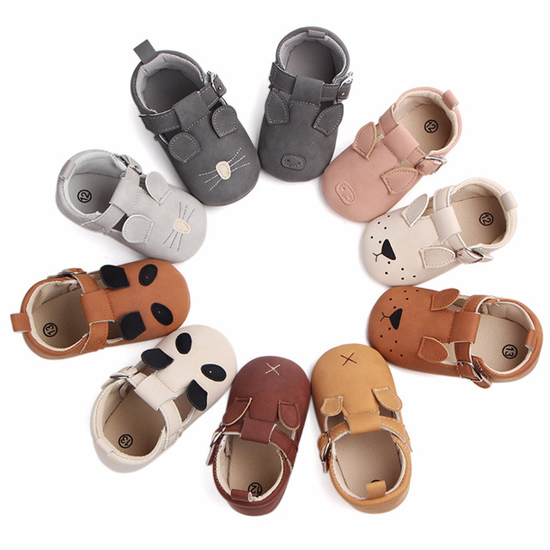 New 10 Colors Cute Animal Print First Walkers Anti-slip Pu Leather Crib Girls Boys Sneakers Strap Baby Shoes For Drop Shipping