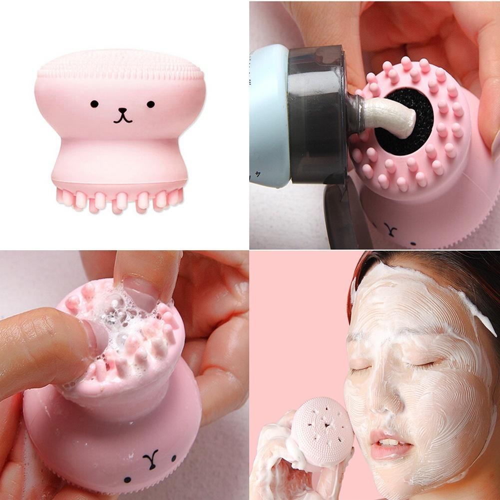 Heißer Verkauf 1pc Cartoon Nette Gesichts Reinigung Peeling Nette Silica Gel Massage Tiefe Reinigung Gesicht Pinsel Reiniger