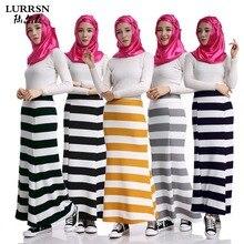 LURRSN NEW World Apparel Women's Bottoms 100% NEW 102cm Muslim Long Skirts 2017 Spring Summer Fall Fashion Stripe Retro Skirt