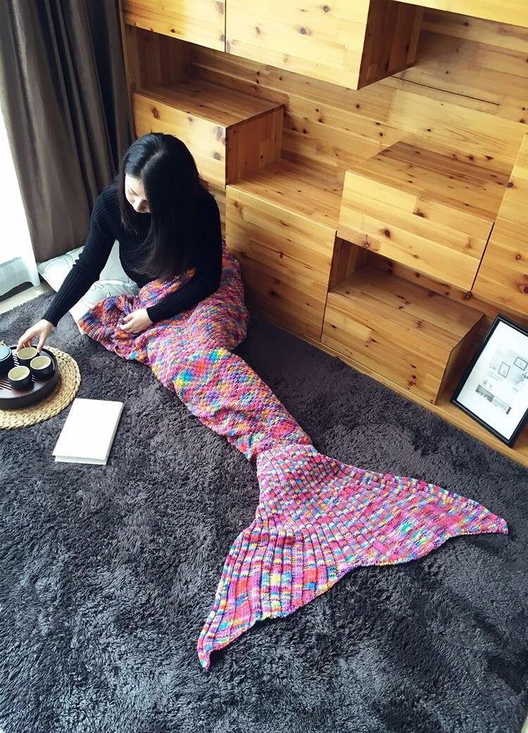 180x90cm Woman Blanket Handmade Crochet Knitted Multi Colors Pink Mermaid Tail Blanket Adult Bed Wrap Sleeping Bag Throw Swaddle
